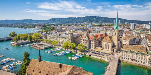 Aerial view of Zürich city center with famous Fraumünster Church and river Limmat at Lake Zurich from...