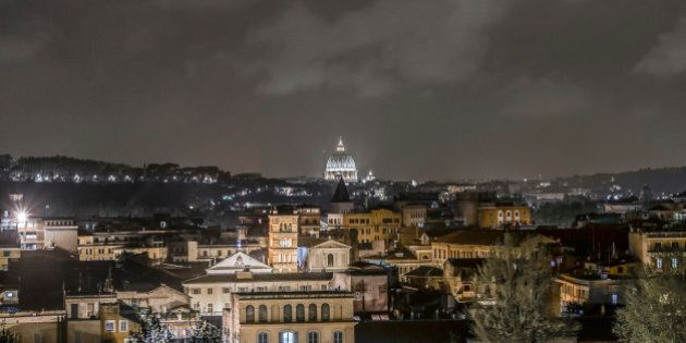 Italy, Rome, 04 April 2014 - Orange Garden on Aventine Hill, also called Savello Park. This is a night...