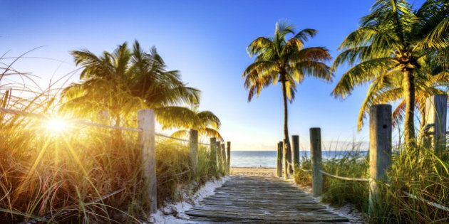 way to the beach in Key West, Miami, Floride,