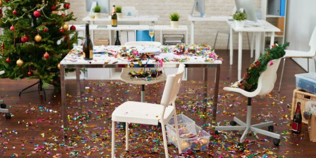 Office interior with confetti on the