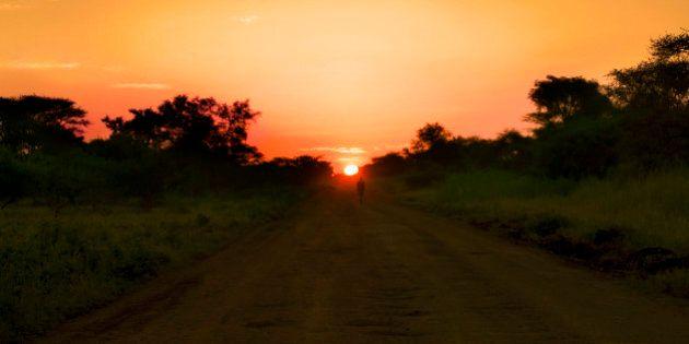 Walking at sunset. South