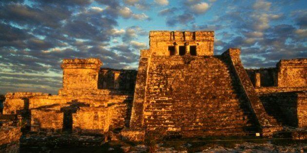MEXICO - APRIL 1: El Castillo (The Castle), Tulum, Quintana Roo, Mexico. Maya civilisation, 6th century....