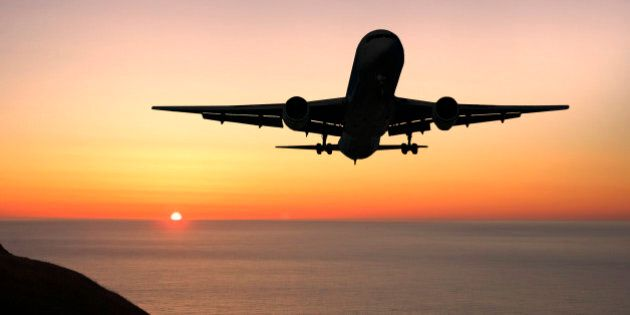 Airliner landing at