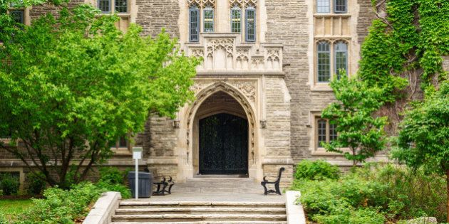 Photo of the gothic revival style University Hall at the main campus of McMaster University, a public...