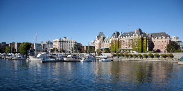 View from the sea at the Inner Harbour of Victoria, British Columbia,
