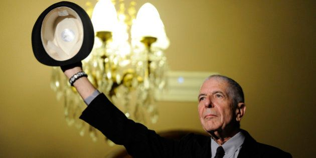 Canadian singer-songwriter Leonard Cohen gestures during a tribute in Gijon, northern Spain, October...