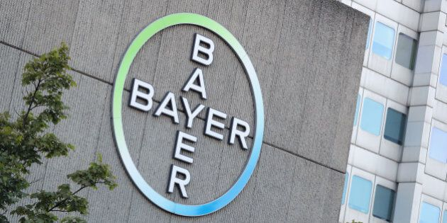 BERLIN, GERMANY - SEPTEMBER 14: The logo of German pharmaceuticals and chemicals giant Bayer stands over...