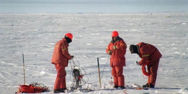 Workers gather seismic lines used for detecting the presence of natural gas and other underground deposits...