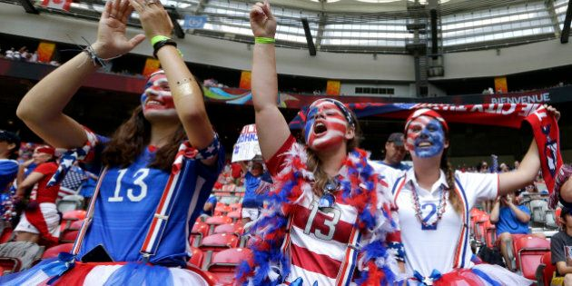 United States fans cheer before the FIFA Women's World Cup soccer championship between the U.S. and Japan...