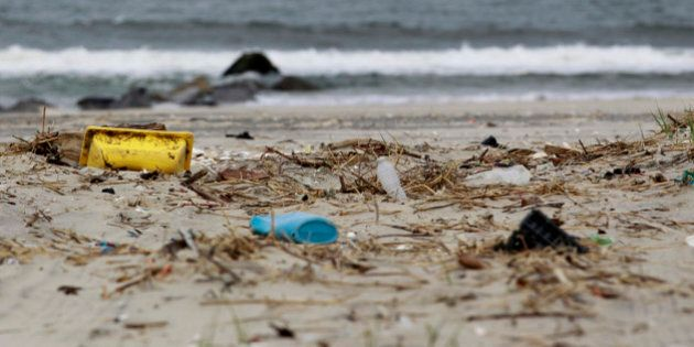 In this April 18, 2011 photo, trash litters the beach in Sandy Hook, N.J. Clean Ocean Action, the environmental...