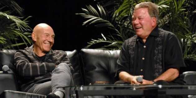 CHICAGO, IL - AUGUST 24: Former Star Trek actors and ship captains Patrick Stewart (L) and William Shatner attend the Star Trek panel at Wizard World Chicago Comic Con 2014 at Donald E. Stephens Convention Center on August 24, 2014 in Chicago, Illinois. (Photo by Paul Warner/WireImage)