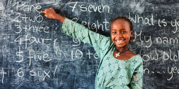 African little girl during her english