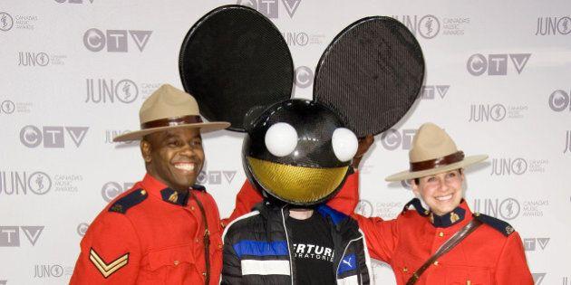 Deadmau5 arrives at the Juno Awards on Sunday, April 1, 2012, in Ottawa, Ontario. (AP Photo/Arthur