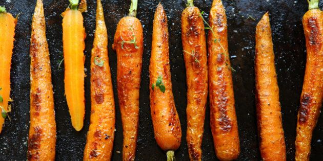 baked carrots on a baking sheet