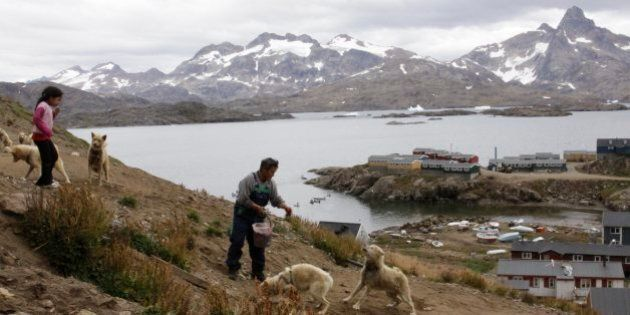 Gert Ignatiussen throws a chunk of seal meat to one of his sled dogs in Tasiilaq, an Inuit town on the southeast coast of Greenland, in this photograph taken on Aug. 25, 2009. Ignatiussen was the winner of Greenland's annual amateur mineral hunt, a competition that the local government hopes will spur Greenlanders to take interest in the hidden resources being uncovered by the Arctic thaw. ( AP Photo/Karl Ritter).