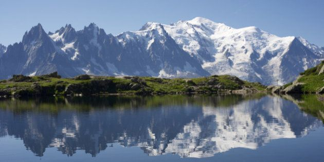 Mont Blanc reflected in Cheserys Lake, Mont Blanc Massif, Alps,