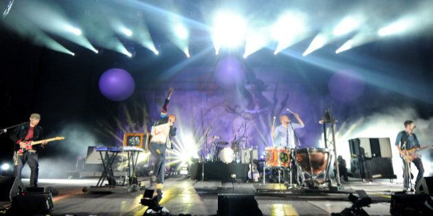 PEMBERTON, CANADA - JULY 27: Coldplay performs on day three of the 2008 Pemberton Music Festival on July...