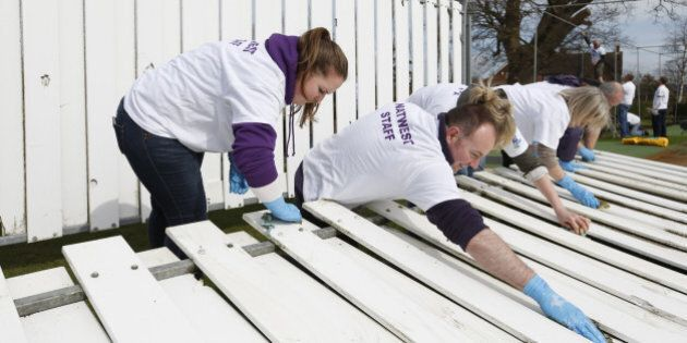 TENTERDEN, ENGLAND - MARCH 27: Club members and volunteers participate during the NatWest CricketForce...