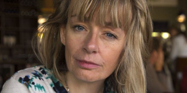 FREDRICTON, ON - OCTOBER 30: Actor and Air Force Captain Lucy DeCoutere during a video interview with...