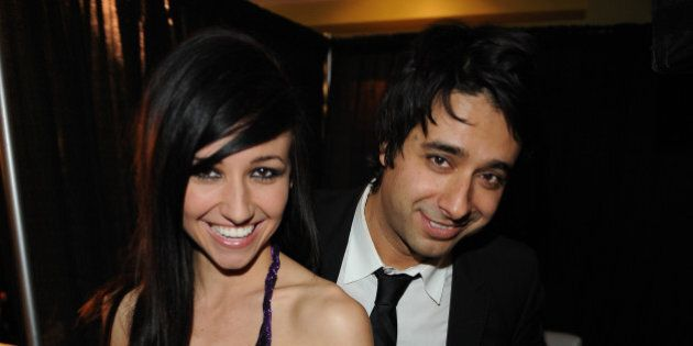 VANCOUVER, BC - MARCH 29: Lights and Jian Ghomeshi pose backstage in the E Talk Lounge at the 2009 Juno...