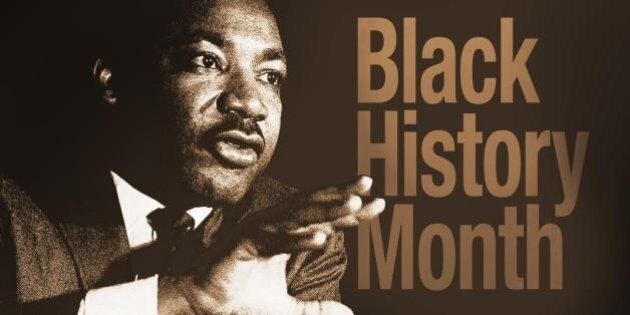 Martin Luther King Jr speaking, drawing on texture with BLACK HISTORY MONTH lettering, finished graphic