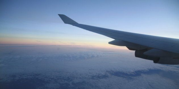 wings of an airplane in the sky............
