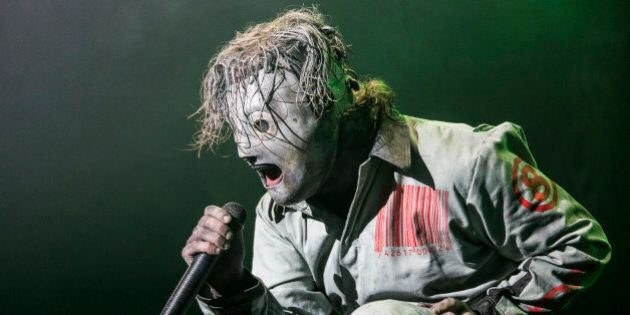 ROSKILDE, DENMARK - JULY 04: Corey Taylor from Slipknot headlines the Orange Stage on Day 1 of the Roskilde...