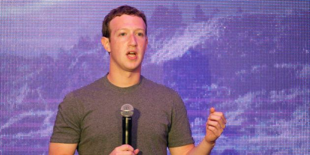 Facebook CEO Mark Zuckerberg delivers a speech during a workshop for application developers in Jakarta,...