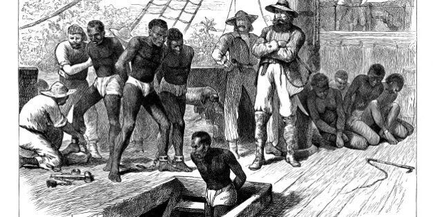 Captives being brought on board a slave ship on the West Coast of Africa (Slave Coast), c1880. Although...