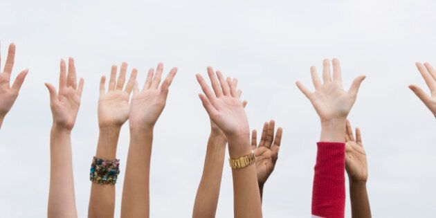 Close up of women's outstretched hands
