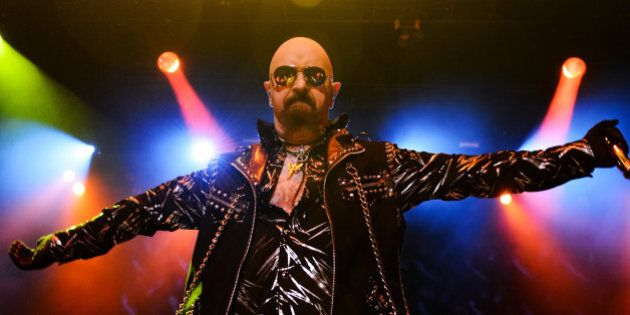 HAMMOND, IN - OCTOBER 03: Rob Halford of Judas Priest performs on stage at The Venue at Horseshoe Hammond...