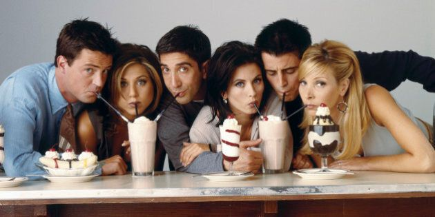 FRIENDS -- Pictured: (l-r) Matthew Perry as Chandler Bing, Jennifer Aniston as Rachel Green, David Schwimmer...