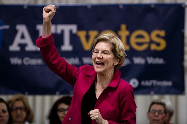 Elizabeth Warren speaking before a crowd of teachers at an American Federation of Teachers