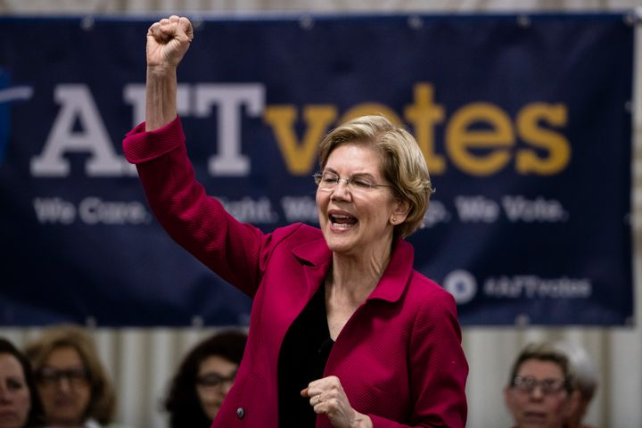 Elizabeth Warren speaking before a crowd of teachers at an American Federation of Teachers event.