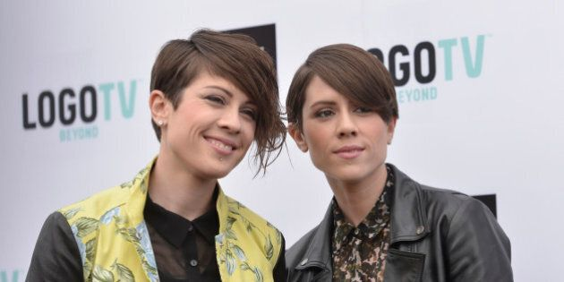 Singer Tegan Quin and Sara Quin of the band Tegan and Sara arrive at Logo's NewNowNext Awards 2013 at the Fonda Theatre on Saturday, April 13, 2013 in Los Angeles. (Photo by Dan Steinberg/Invision/AP)