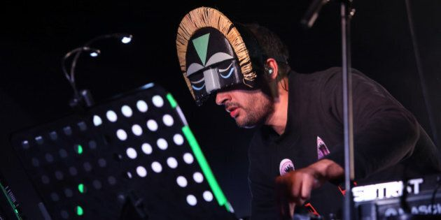 BERLIN, GERMANY - NOVEMBER 11: Aaron Jerome of SBTRKT performs during a concert at Astra on November 11, 2014 in Berlin, Germany. (Photo by Adam Berry/Redferns via Getty Images)