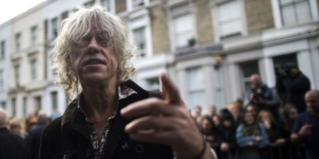 Irish musician Bob Geldof arrives at a west London studio to record the new Band Aid 30 single on November...