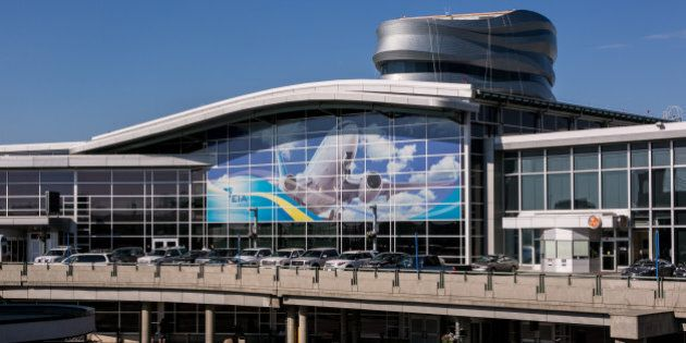 EDMONTON, CANADA - JULY 1: The sleek, new main terminal at Edmonton International Airport (YEG) features...