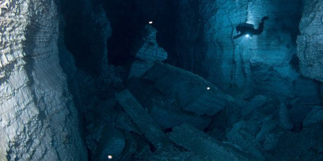 URAL, RUSSIA - UNDATED: EXCLUSIVE Cave divers from the Orda Cave Awareness Project explore the beautifully...