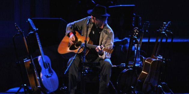 NEW YORK, NY - JANUARY 06: Musician Neil Young performs at Carnegie Hall on January 6, 2014 in New York...