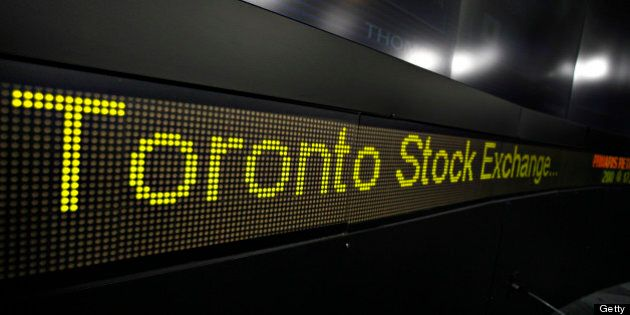 TSX MERGER--12/10//07--Monitor inside the TSX broadcast centre located on the ground floor of The Exchange...