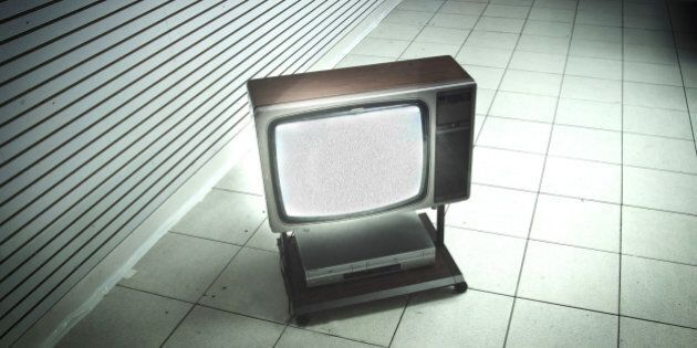 A minimalistic photo of a Television set from the