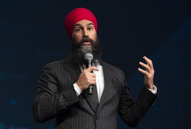 NDP leader Jagmeet Singh speaks at the Broadbent Summit in Ottawa on March 29,