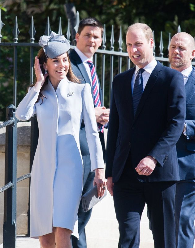 Catherine, Duchess of Cambridge and Prince William, Duke of Cambridge at the Easter Sunday service at...