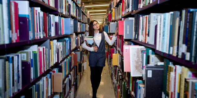 File photo of a woman browsing books at a