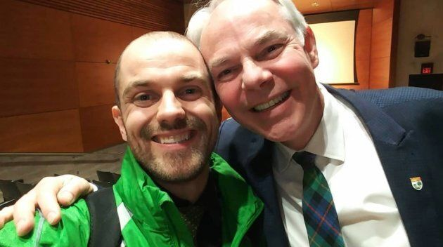 Josh Underhay is shown with P.E.I. Green Leader Peter Bevan-Baker in a photo from Underhay's Facebook