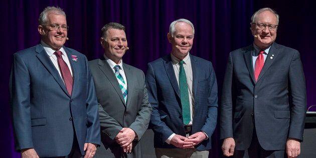 P.E.I. NDP Leader Joe Byrne, , left to right, Progressive Conservative Leader Dennis King, Green Leader...