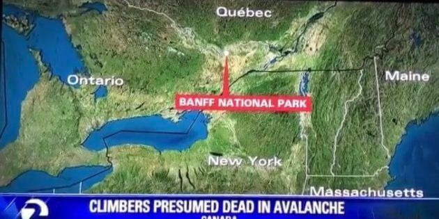 KTVU apologized for showing Banff National Park near the Ontario-Quebec.
