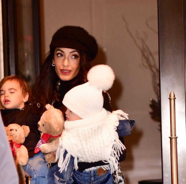 Amal Clooney is seen with her children Alexander Clooney and Ella Clooney on Dec. 6, 2018 in New York City.