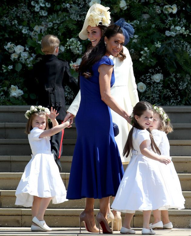 Princess Charlotte of Cambridge, Prince George of Cambridge, Catherine, Duchess of Cambridge, Jessica Mulroney, Ivy Mulroney and Florence van Cutsem after the wedding of Prince Harry and Meghan Markle at St George's Chapel at Windsor Castle on May 19, 2018, in Windsor, England.